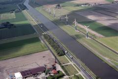 Noordhollands kanaal Burgervlotbrug N9 Windmolens in aanbouw binnenscheepvaart 1988 lfh 88071233