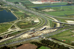 Zaandam ,Zaanstad,bouw ,verkeersplein, A-10 ,achtersluispolder Oostzaan,1990 lfh 90090455